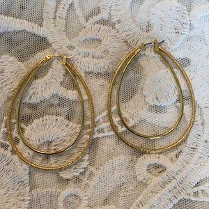 Vintage Guess Tear Drop Goldtone Hoops